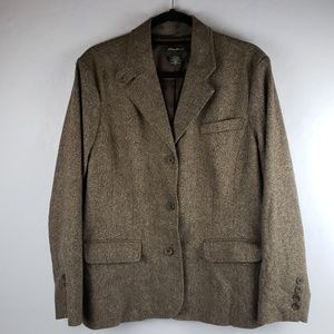 Eddie Bauer Wool Blend Brown Tweed Lined Blazer